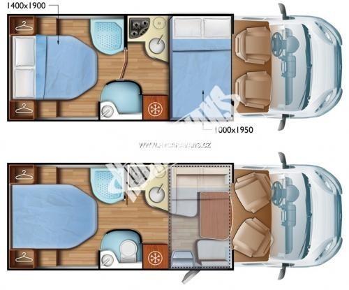 Polointegrovaný obytný vůz Mobilvetta P 62 s garáží 150 PS  Klimatizace  Safety Pack č.11