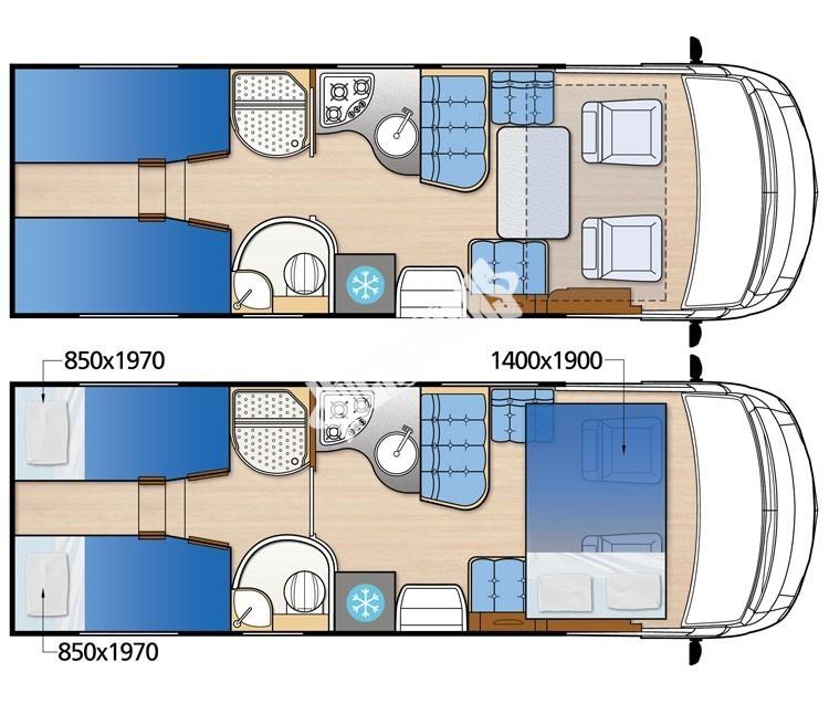 Celointegrovaný obytný vůz NEVIS 73G model 2018  DIAMOND STYLE skladem č.20