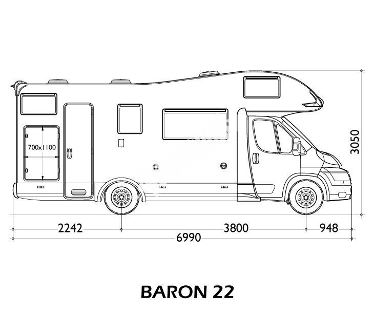 Obytný vůz Baron 22 s alkovnou model 2018 č.2