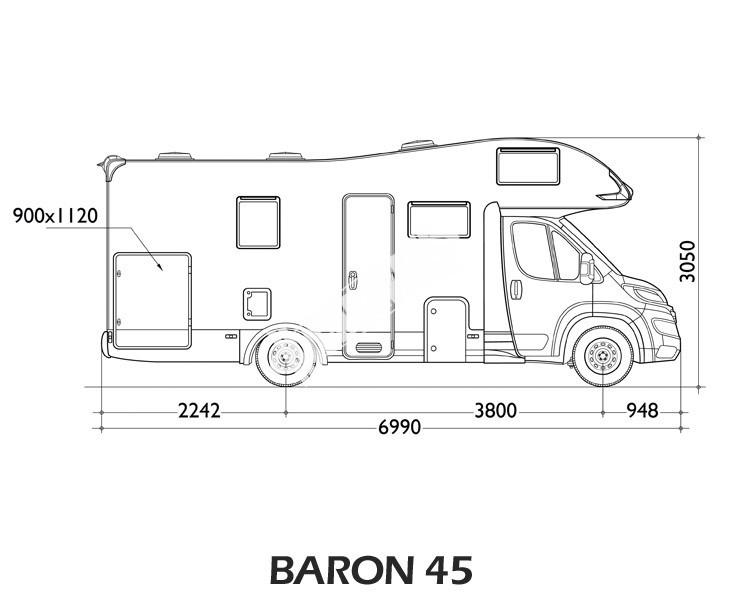 Obytný vůz Baron 45G s alkovnou model 2017 č.2
