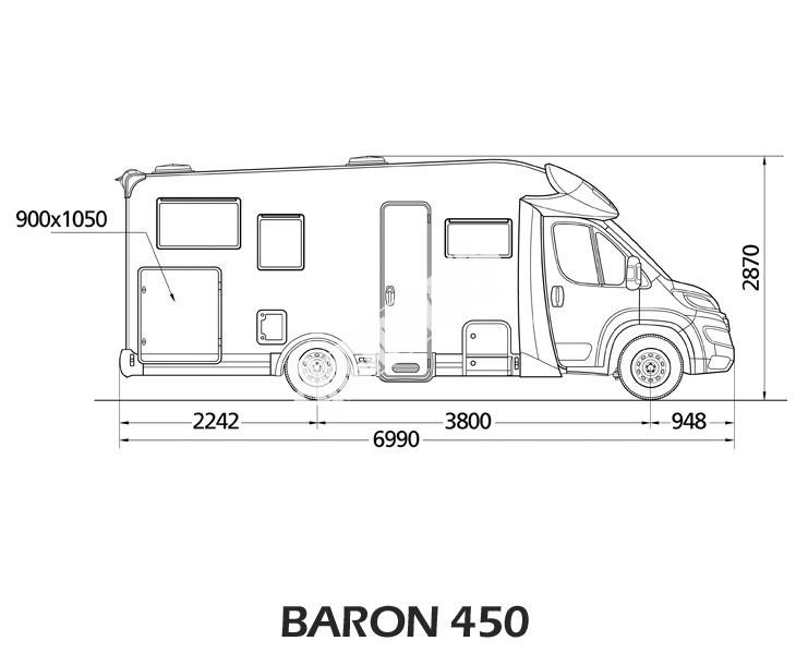 Polointegrovaný obytný vůz Baron 450 č.3