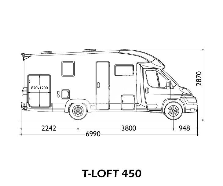 Polointegrovaný obytný vůz T-LOFT 450G Limitovaná serie 65 TOP Standartní výbava č.2