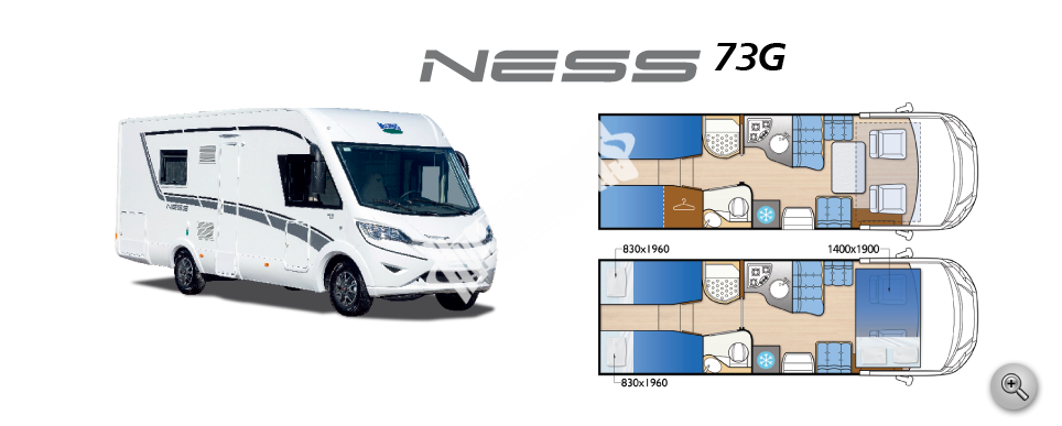 Celointegrovaný obytný vůz NESS 73 G  Nový model 2016 č.1