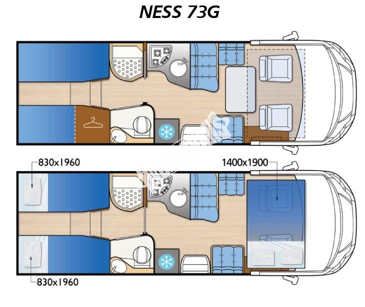 Celointegrovaný obytný vůz NESS 73 G  Nový model 2016 č.3