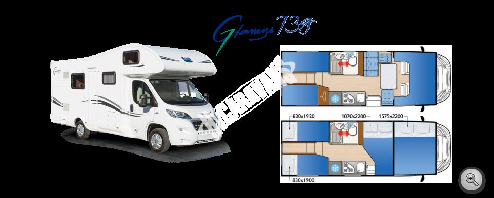 Obytný vůz GLAMYS 73 g s alkovnou  model 2018