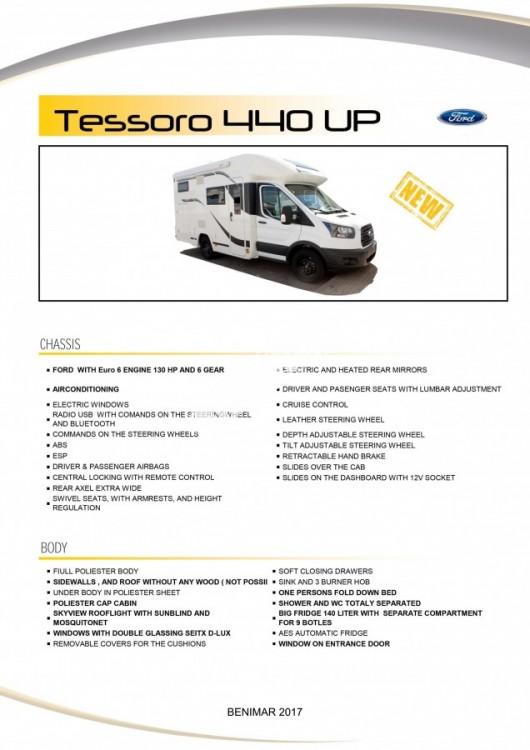 Obytný vůz Benimar Tessoro  UP 440 Limitovaná edice  2018 Top výbava, skladem Mar-Lázně,vůz na SPZ,registrovaný,odpočet DPH není možný,stav km 1020. č.26