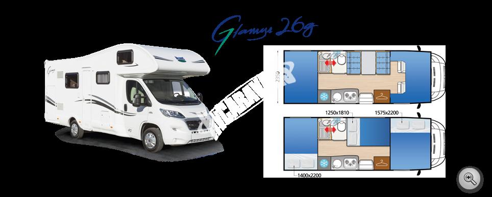 Obytný vůz GLAMYS 26g FIAT s alkovnou model 2017 k odberu 10/2016