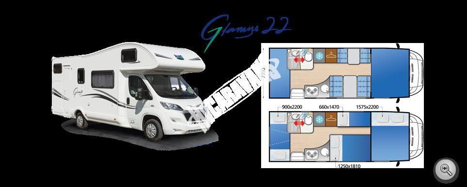 Obytný vůz GLAMYS 22 s alkovnou garáží model 2018