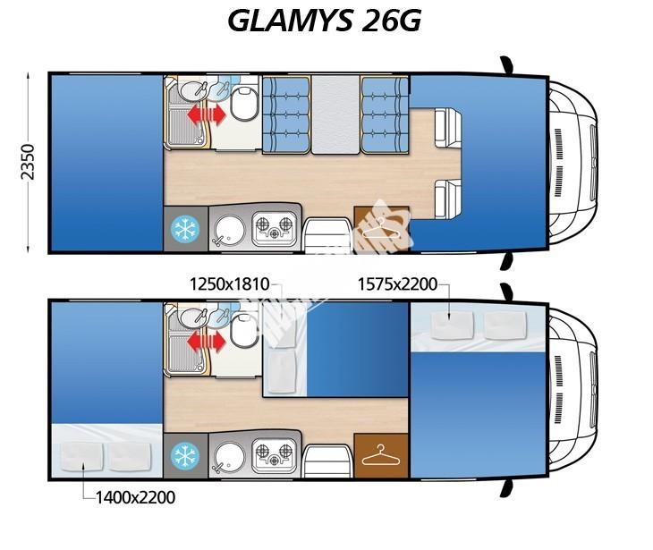 Obytný vůz GLAMYS 26g FIAT s alkovnou model 2018 č.2