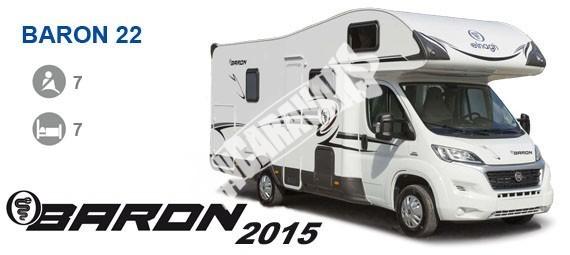 Obytný vůz Baron 22 s alkovnou - 130k, klimatizace, safety pack č.1