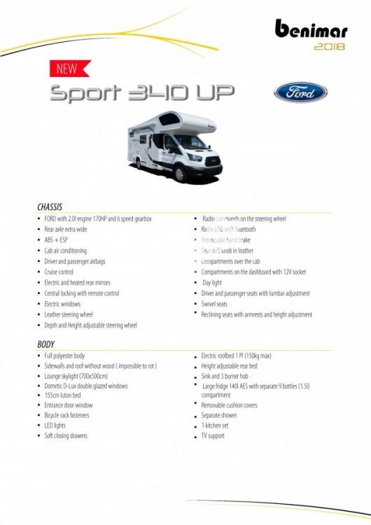 Obytný vůz Benimar SPORT 340 UP FORD 170 PS, akční série TOP výbava+ cena,  Skladem 4/2018 Prodáno č.38