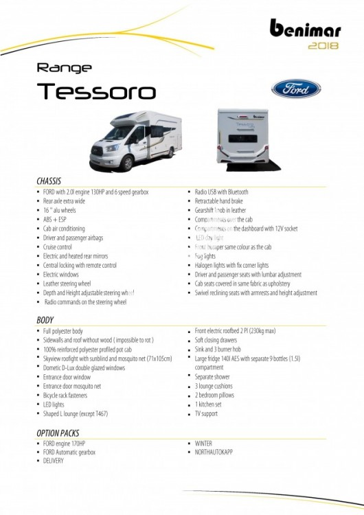 BENIMAR Tessoro  467 model 2018 170 PS skladem 10/2017 spouštěcí zadní lůžka / TOP záruka FORD na  5 let !!! č.12