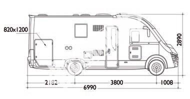Celointegrovaný karavan Elnagh Magnum 55 s garáží  150 PS Klimatizace  Safety Pack č.3